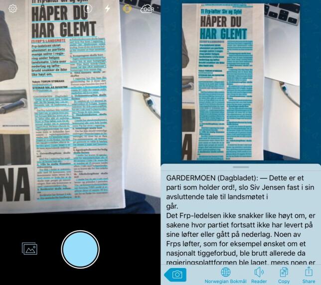 Sørg for at teksten er synlig på skjermen og knips bilde av den. I løpet av sekunder kan du lese den på telefonen og få den opplest av den innebygde voiceover-funksjonen. Foto: Pål Joakim Pollen