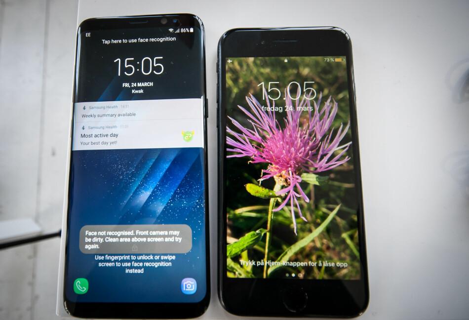 MÅ INNOVERE: Skal Apple gå forbi Samsungs S8, må de gjøre noe med skjermen. Men rekker de det før det er for sent? Foto: Gaute Beckett Holmslet