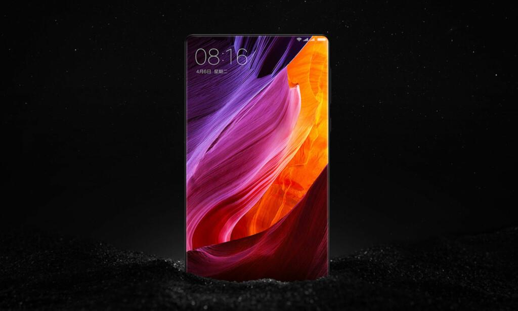 FULLSKJERM: Xiaomi Mi Mix vekket oppsikt da den ble lansert. Skjermen er imidlertid ikke heldekkende. Den nedre delen, hvor kameraet er plassert, vises ikke på bildet. Foto: Produsenten
