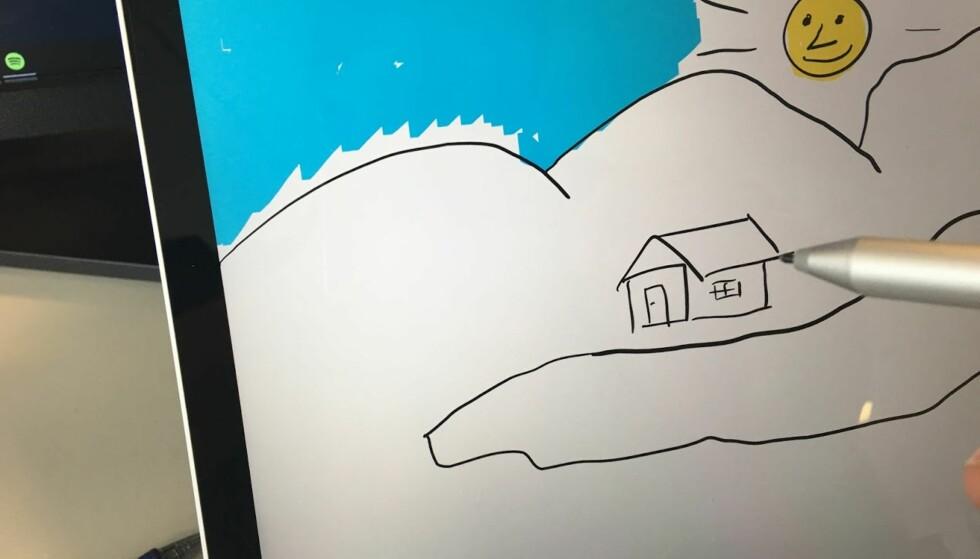 ENDELIG GØY Å TEGNE: Den svært høye oppløsningen og relativt raske pennen, gjør det morsomt å tegne og notere direkte på skjermen. Foto: Bjørn Eirik Loftås