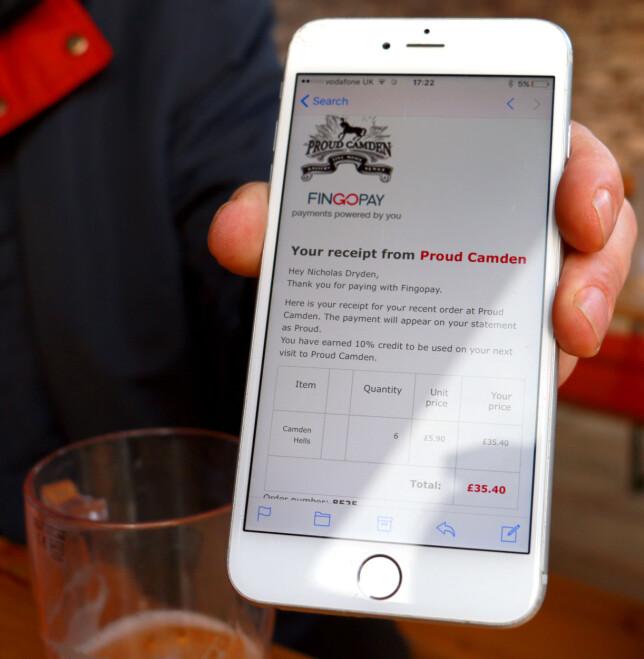 KVITTERING PÅ E-POST: Hver gang du gjør et kjøp med fingeren, sendes en kvittering til din registrerte e-postadresse. Foto: Berit B. Njarga