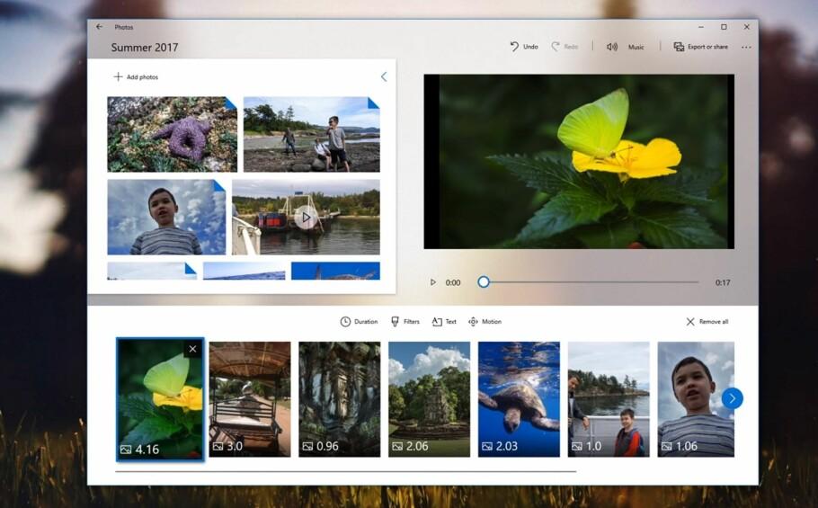 NY DESIGN: I høst vil flere av standard-appene i Windows 10 få ny design, deriblant Foto. Men Microsoft har også noen flere godbiter på lur i høstens store oppdatering. Skjermdump: YouTube/Computer Clan