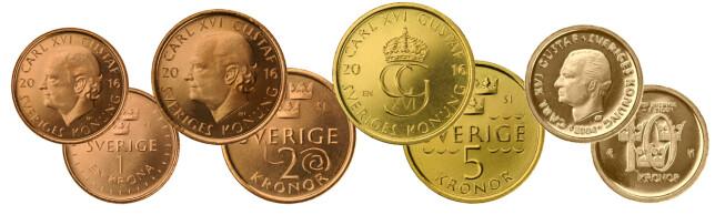 NYE MYNTER: Slik er de nye myntene. Foto: Riksbanken