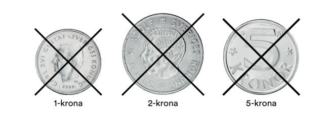 DISSE SKAL UT: De gamle 1-, 2- og 5-kroningene blir ugyldige etter 30. juni. Foto: Riksbanken