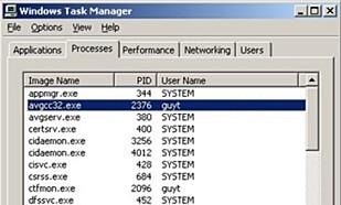Slik ser oppgavebehandlingen ut i Windows XP. Hver kjørende prosess har en PID i kolonne nummer to. Foto: Microsoft