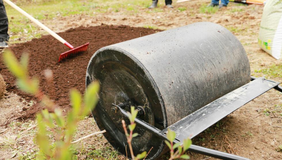 PLANERE: Du ruller over jorda med en plenvalse for å få det jevnt. Foto: Berit B. Njarga