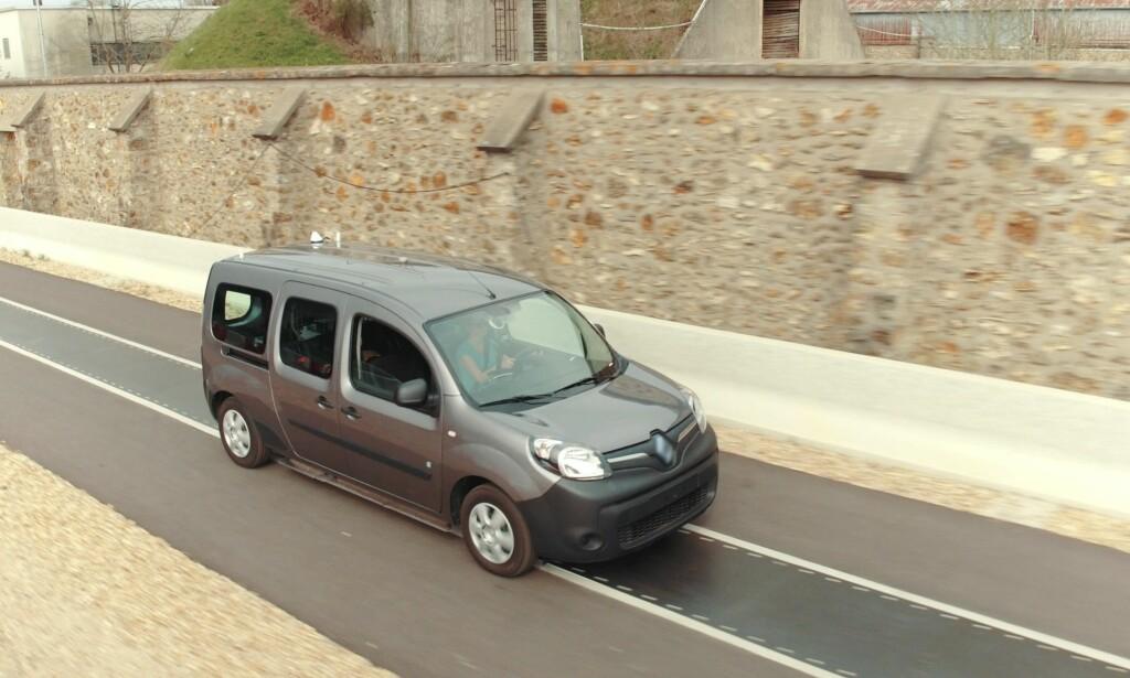 DEMO-BILEN: Kangoo Z.E. er en av de mest solgte elektriske varebilene i dag og eksisterer også som personbil. Det er den som fungerer som testkjøretøy i Frankrike. Foto: Renault