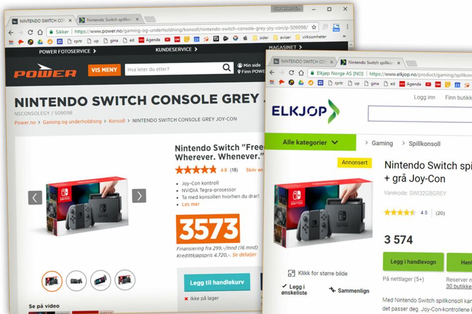 ÉN KRONE: Slike priser vil du finne mange av framover. Power selger Nintendo Switch til én krone mindre enn Elkjøp. Grunnen er trolig prisroboten som ikke er redd for å skape nærmest komiske priser, som bare så vidt er billigst. Foto: Ole Petter Baugerød Stokke
