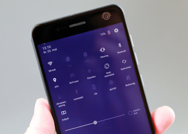 LILLA: Litt krumspring har ZTE gjort her og der med sin Android-variant. Her ser du for øvrig at auto(-lysstyrke) er blitt oversatt til autofokus. Foto: Pål Joakim Pollen
