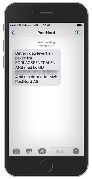 SKREMMENDE: Får du en slik melding fra PostNord, om at en pakke har blitt levert på dørmatta, bør du håpe du er hjemme. Foto: Ole Petter Baugerød Stokke