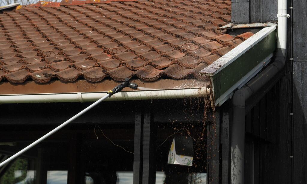 INGENTING ER FOR HØYT: Med en god Teleskoplanse fra Kärcher er ingenting for høyt til å bli vasket. Foto: Content Aller Media