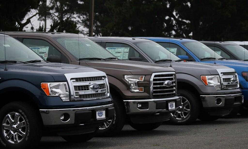 DOMINANTE: Pick-upene Ford F-150 selger så godt i USA at de har klatret forbi Golf på lista over verdens mest solgte biler. <br>Foto: &nbsp;Justin Sullivan/Getty Images/AFP