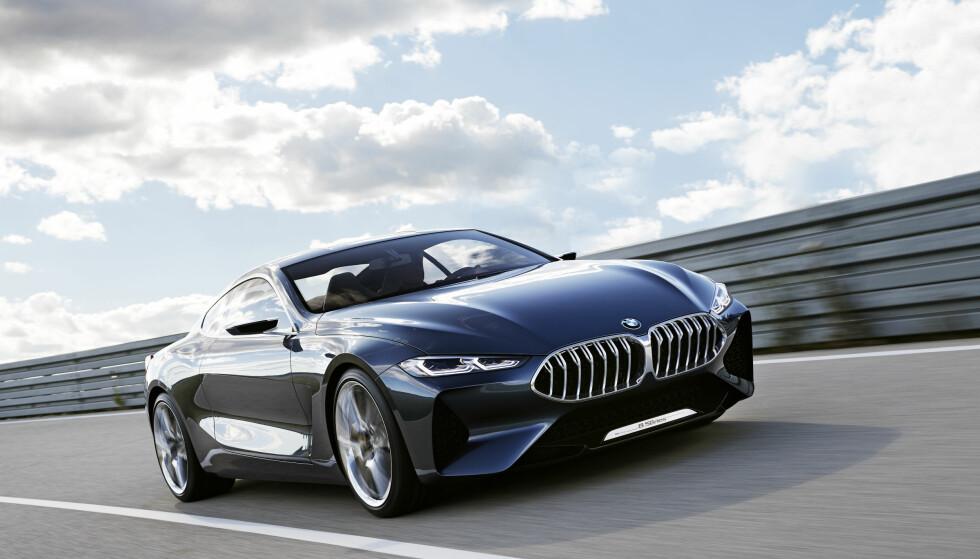 SINNATAGGEN: Kraftfullt sportslige linjer og et aggressivt oppsyn karakteriserer den nye 8-serien fra BMW. Foreløpig har den navnet Concept 8-series. Foto: BMW