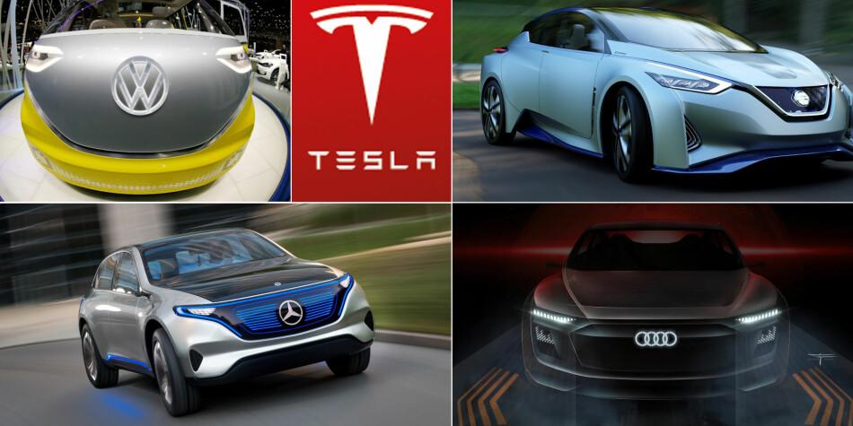 NYE ELBILER: Volkswagen, Nissan, Mercedes-Benz og Audi er blant bilmerkene som tar opp kampen med Tesla. Foto: Produsentene
