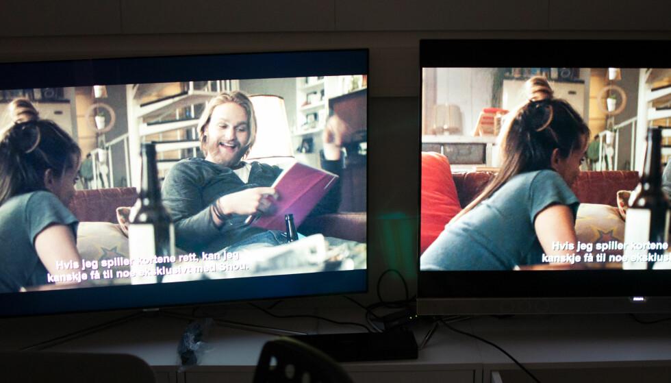 FORTSATT BEST: Her er 901F (høyre) ved siden av Samsungs Q7. QLED-panelet når foreløpig ikke helt opp til OLED når det gjelder sortnivå og innsynsvinkel. Foto: Gaute Beckett Holmslet