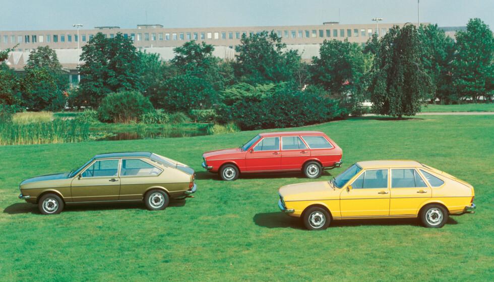 KLASSISKE BILER: VW Passat, både som tredørs-, femdørs- og stasjonsvognutgave. Foto: VW