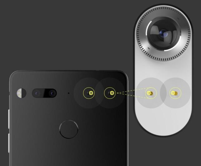KLIKK PÅ: Magnetiske kontakter bak på telefonen skal gjøre det enkelt å hekte på ekstrautstyr, som dette 360-graderskameraet. Foto: Essential