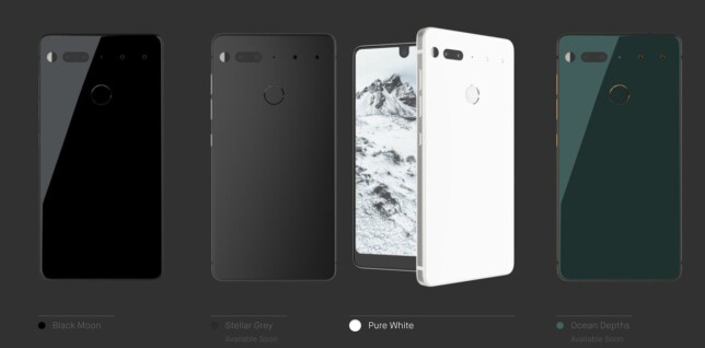 FIRE FARGER: Dette er de fire fargene Essential Phone kommer i. Foto: Essential