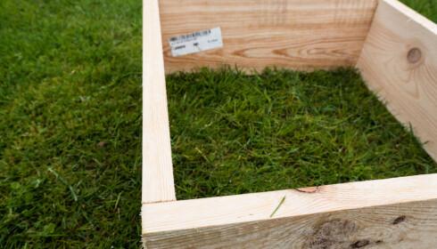 OVERLAPP: Legg det ene borde på utsiden av det neste og fest med to skruer. Slik fortsetter du til du er ferdig med alle hjørnene. FOTO: Simen Søvik