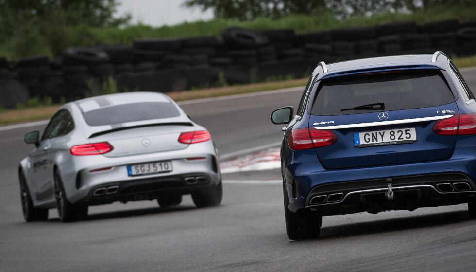 FULL FART: Mercedes-AMG har hele 45 bilmodeller der det ikke har blitt spart på hestekreftene. Mottoet er rett og slett too much power. Foto: Rune Nesheim