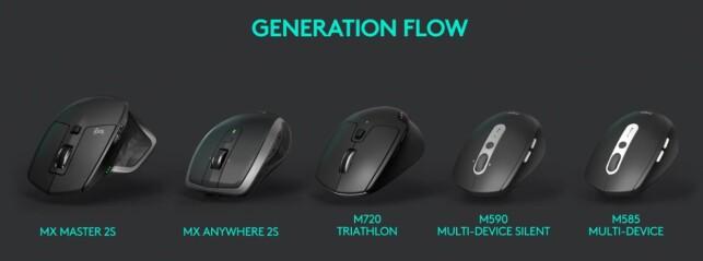 FLOW-MUS: Det er disse fem modellene som støtter Flow i første omgang. De to til venstre er helt nye. Illustrasjon: Logitech