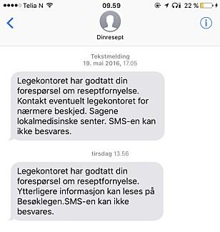 FORNY RESEPT PÅ NETT: Så kan du få beskjed når resepten er klar på SMS eller via e-post. Foto: Skjermdump.