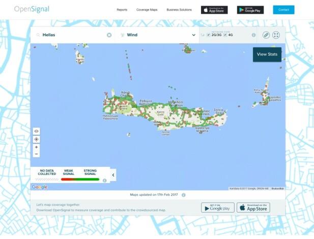 Via OpenSignals nettsider kan du sjekke dekningen dit du skal – her er for eksempel Kreta. Du kan bytte operatør på toppen for å sjekke forskjeller mellom operatørene. Skjermdump: Pål Joakim Pollen / OpenSignal