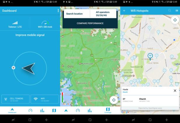 Pila kan hjelpe deg til nærmeste basestasjon om du er uten dekning. OpenSignal-appen gir deg også et kart med dekningsforholdene, sammenligning av hastigheten fra ulike operatører og et kart over WiFi-nett i nærheten. Skjermdump: Pål Joakim Pollen