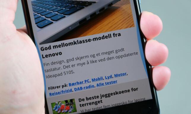 KLEM: HTC U 11 reagerer når du klemmer på den; for eksempel for å starte kameraet og ta bilde. Foto: Pål Joakim Pollen