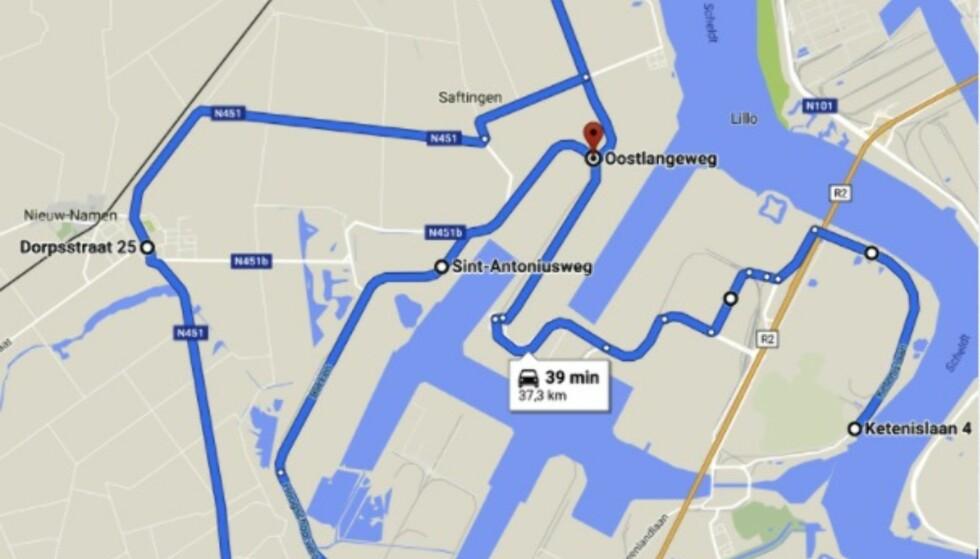 RUTA: Dette er veien de belgiske sjåførene satte den nye rekorden på. Forbruket ble i snitt 8,8 kWh/100 km. Faksimile: silver-lining.be