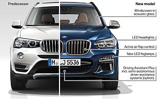 BMW X3: Forrige generasjon til venstre og nye X3 til høyre. Foto: BMW