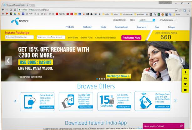 FORVIRRENDE: Nettsida Telenor.in er er rot av tall og tilbud. Prisene er lave, men det skulle bare mangle når det er India vi snakker om. Foto: Ole Petter Baugerød Stokke