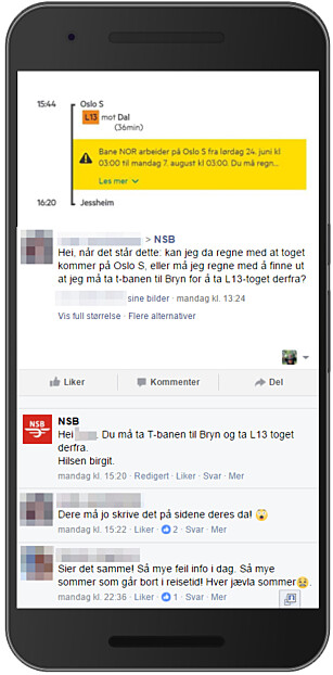 ÉN AV MANGE: Her ser du hvordan NSB-kundene poster skjermdumper som NSB kan fortelle at viser helt feil informasjon. Varselet sier at det kan bli forsinkelser, men ikke at toget er innstilt. Foto: Ole Petter Baugerød Stokke