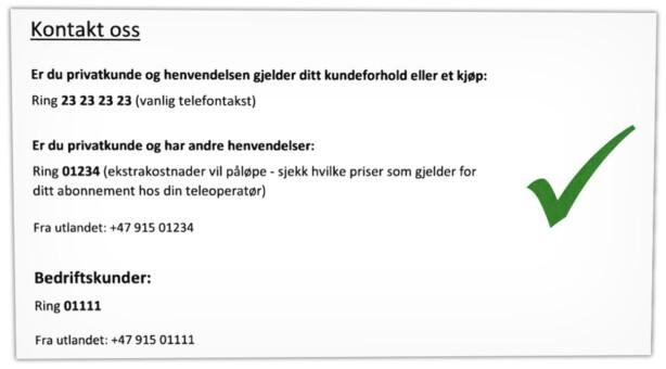 FORTSATT LOV: Forbrukerombudet viser i brevet eksempler på hvordan selskaper fortsatt kan ha femsifrede telefonnummer. Men også hvordan de må merkes ekstra godt med at de koster ekstra å ringe. Grafikk: Forbrukerombudet