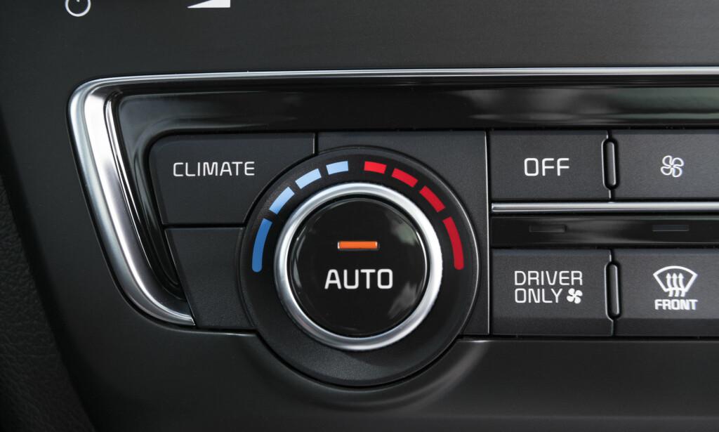 SPAREBLUSS: Kjører du alene, kan du velge å bare kjøre klima få på førersiden, en knapp vi også har sett i hybriden Kia Niro.