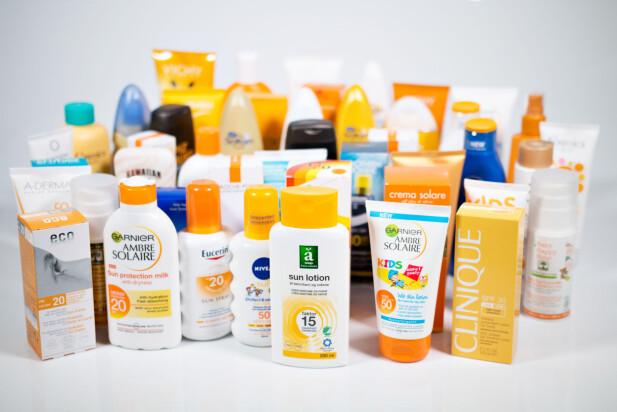 TEST AV 45 SOLKREMER: Kun 8 av de 45 solkremene som Forbrukerrådet sjekket for potensielt skadelige stoffer, fikk bestått. Foto: Forbrukerrådet