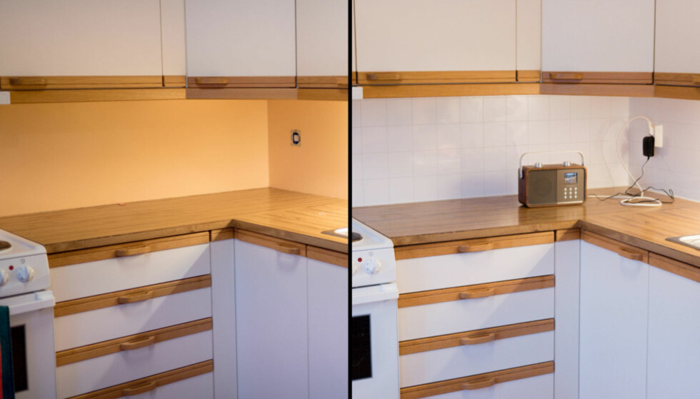 FØR OG ETTER: Du klarer det selv, og det er en enkel måte å få et penere kjøkken på. Foto: Simen Søvik.