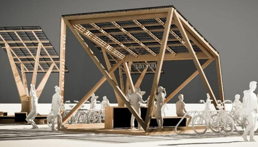 BRUKER SOLA: I Oslo og andre steder i landet planlegges det nå ladestasjoner for elsykkel drevet med solceller. Fotoi: Møller Solenergi