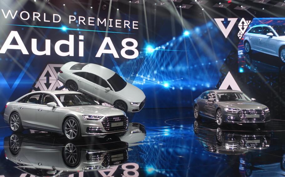 FLAGGSKIPET: Med Dinside tilstede, ble Audis nye premium-flaggskip, A8, lansert i Barcelona i dag. Foto: Fred Magne Skillebæk