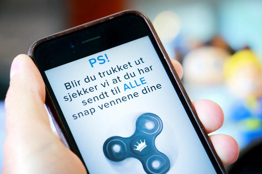KONKURRANSE PÅ SNAPCHAT: Stayclassy ba følgerne ta en skjermdump av en video, og sende den til alle vennene sine, for å være med i trekningen. De sa også at de ville sjekke om folk hadde fulgt instruksjonene, noe som er praktisk talt umulig. Foto: Ole Petter Baugerød Stokke