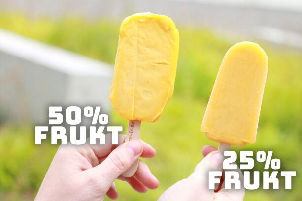 image: Begge heter Fruitero, men kun én inneholder 50 prosent frukt