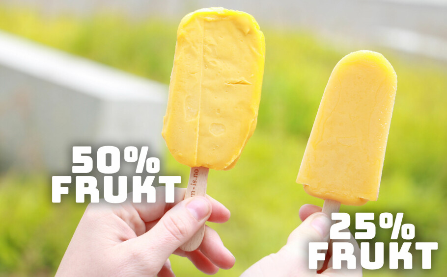 DIPLOM-IS: Til tross for at begge disse is-pinnene kalles for Fruitero, inneholder en av dem mye mindre frukt enn den andre. Foto: Ole Petter Baugerød Stokke.