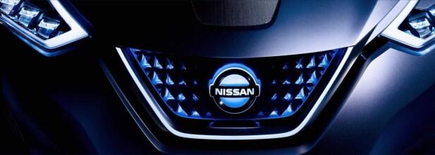 TEASER: Nissan har sluppet det første såkalte teaser-bildet av den kommende elbilen. Leaf II blir lansert offisielt den 6. september. Foto: Nissan