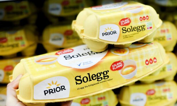<strong>MENY:</strong> Den store pakken med solegg koster mer enn den lille pakken med solegg. Foto: Hanna Sikkeland.