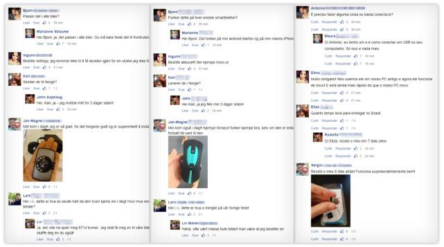 NORSKE NAVN, SPANSKE NAVN: Her ser du hvordan reelle norske navn brukes til å forfalske kommentarer under de falske artiklene. Reelle fordi flere av navnene bare har én eier, men vi har foreløpig ikke klart å få kontakt med disse. De samme profilbildene brukes i samme rekkefølge på begge artikler, samt på utenlandske artikler, da med andre navn. Profilbildene tilhører derfor ikke navnene. (Trykk på bildet for større versjon) Foto: Ole Petter Baugerød Stokke