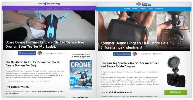 FALSK BYLINE: Lars Nystuen står oppgitt som journalisten bak disse to artiklene, på to forskjellige nettsider. Men artiklene er falske, og navnet trolig stjålet. Foto: Ole Petter Baugerød Stokke