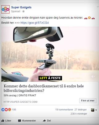 FACEBOOK-ANNONSE: Slik dukker artiklene opp i Facebook-strømmen vår. Foto: Ole Petter Baugerød Stokke