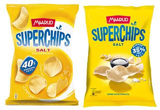 GAMMEL OG NY: Maarud Superchips inneholder nå 2 gram mer fett per 100 gram, og prosenten har blitt skrudd ned fra 40 til 35 prosent mindre fett. Også på Supermix. Bakgrunnen skal være «optimalisering av teksturen». Foto: Maarud
