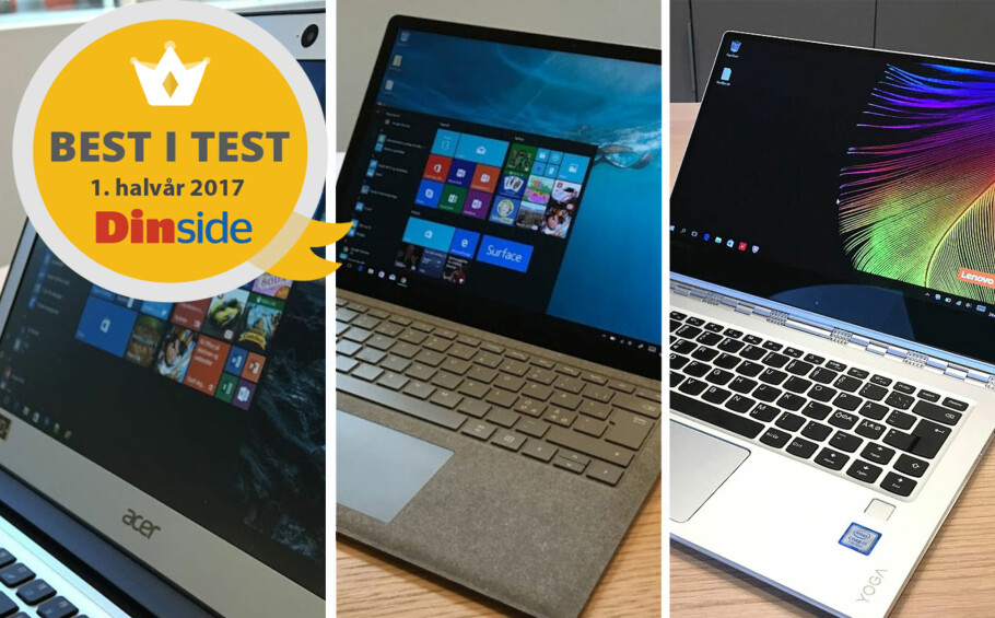 TRE VINNERE: Dinside har plukket ut tre PC-modeller som alle får Best i test-stempel. Illustrasjon: Bjørn Eirik Loftås