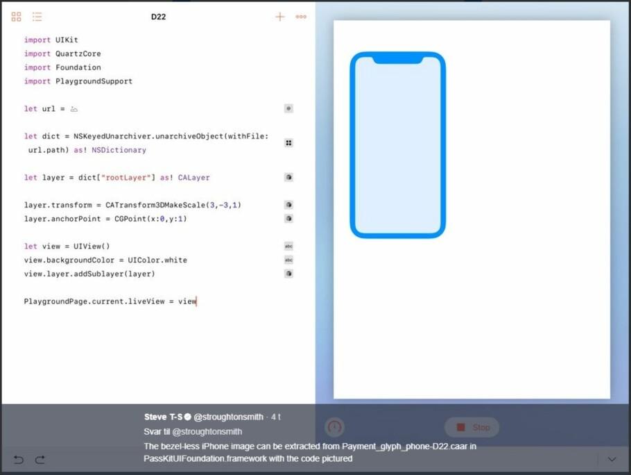 BEVISET: En kommende iPhone-modell vil ha en skjerm som dekker hele fronten, med unntak av et lite felt øverst. Her forklarer utvikleren Steve Troughton-Smith hvordan han fant ikonet i den sylferske Apple-koden. Skjermdump: Twitter